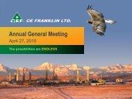 Annual General Meeting - CE Franklin Ltd.