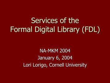 Services of the Formal Digital Library (FDL) - Nuprl