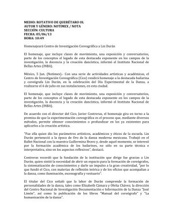 5 de junio 2012 - Coordinacion Nacional de Danza - Instituto ...