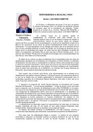 RESPONDIENDO A NICOLÁS LYNCH Sobre: LOS ANALFABETOS