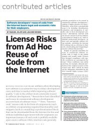 License risks from ad hoc reuse of code from the internet