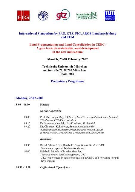 International Symposium by FAO, GTZ, FIG, ARGE Landentwicklung ...