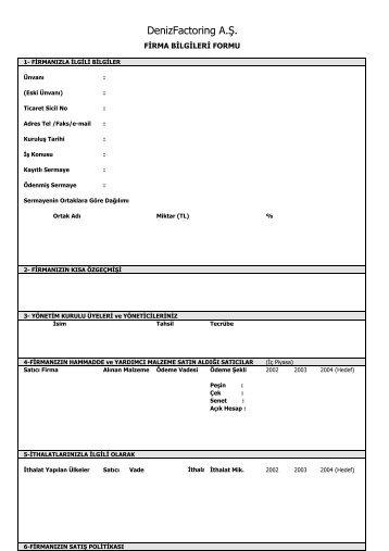 Firma Bilgileri formu - DenizBank