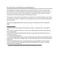 Summer Reading List - Millard North High School