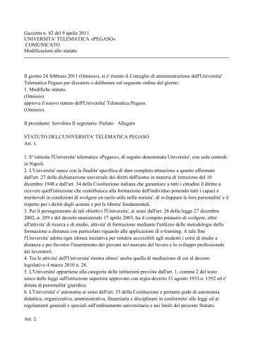 Nuovo statuto - Università Telematica Pegaso