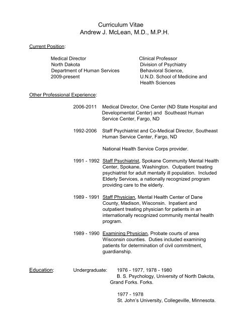 Curriculum Vitae Andrew J  McLean, MD, MPH - School of