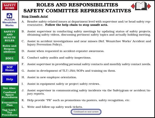 roles and responsibilities safety committee representatives