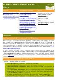 Le Fonds de Performance Sociale pour les Réseaux Mars 2013 ...