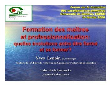 Formation des maîtres et professionnalisation - Centre de recherche ...