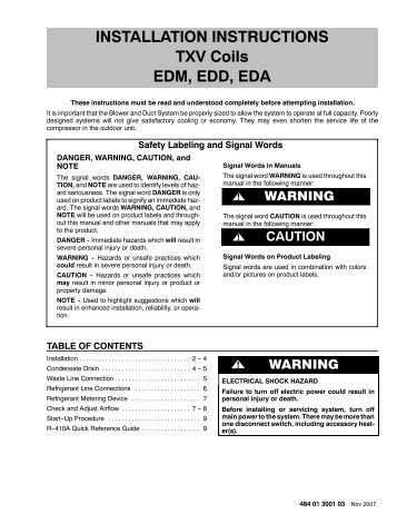 INSTALLATION INSTRUCTIONS TXV Coils EDM, EDD, EDA