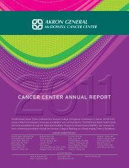CanCer Center annual report - Akron General Medical Center