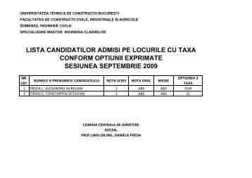 Lista candidatilor admisi/respinsi la examenul de ... - Admitere UTCB