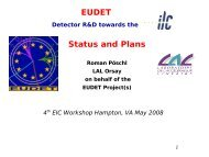 EUDET Detector R&D towards the ILC: Status and Plans