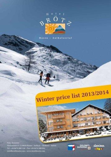 Prices Winter Season 2013/2014 - Hotel Brötz
