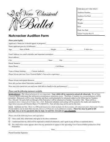 Audition Application Form  The Loft Stage