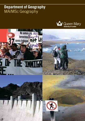 MA/MSc Geography brochure - Queen Mary University of London