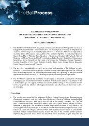 Outcomes statement - Bali Process