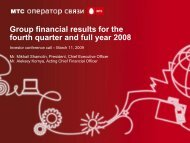 Group financial results for the fourth quarter and full year 2008
