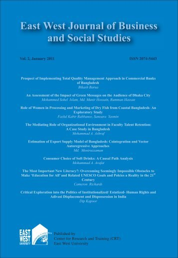 East West Journal of Business and Social Studies Vol.2, January 2011