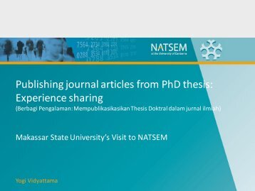 Publishing journal articles from PhD thesis: Experience ... - NATSEM