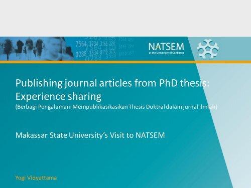 Publishing phd thesis journal
