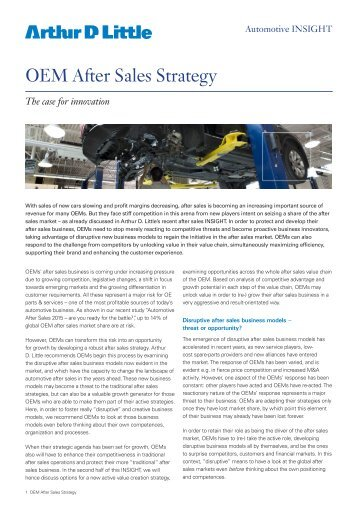 OEM After Sales Strategy - Arthur D. Little