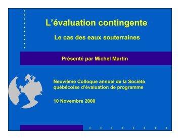 L'évaluation contingente : Le cas des eaux souterraines - La Société ...