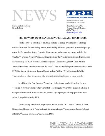 TRB Honors Outstanding Paper Award Recipients - Transportation ...