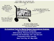 On Analytical Tools for Market Basket (Associations ... - INFORMS NY