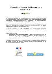 Formation « Le goût de l'innovation » - Lyonbiopôle