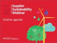 CCE Supplier Webinar Agenda - Coca-Cola Enterprises