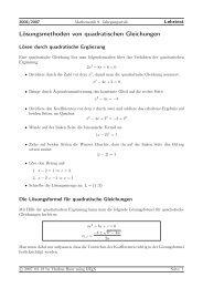 Lösungsmethoden von quadratischen Gleichungen - Treminer.de