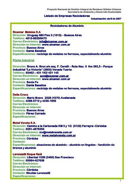 Listado de Empresas Reciclado - Secretaria de Ambiente y ...