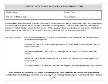Extended Absence Form - George Elliot Secondary