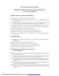 BIBLIOGRAFÍA BÁSICA DEL ESTUDIANTE DE FILOLOGÍA GRIEGA