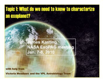 Topic 1: What do we need to know to characterize an exoplanet?