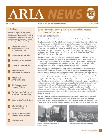 ARIA News - American Risk and Insurance Association