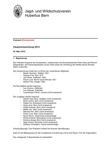Protokoll der HV 2012 - Hubertus Bern