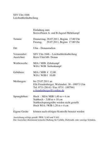 SSV Ulm 1846 Leichtathletikabteilung Einladung zum Kreisoffenen A