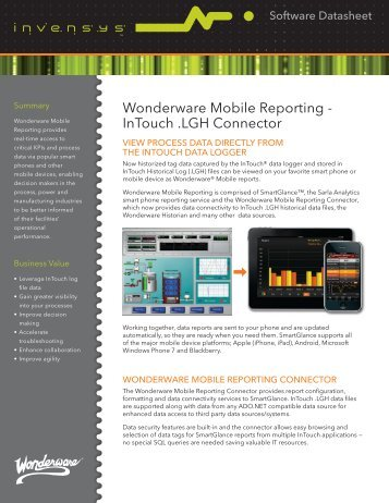 Wonderware Mobile Reporting - InTouch .LGH Connector