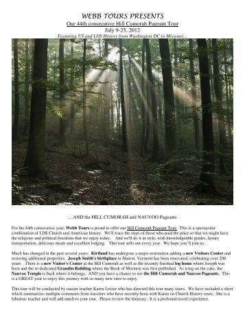 Hill Cumorah Pageant Brochure 2012 - Webb Tours