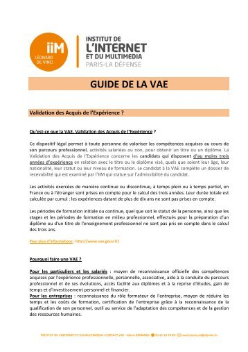le guide de la VAE - IIM