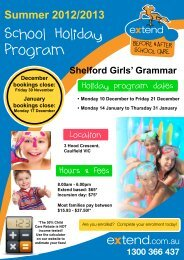 School Holiday Program - Extend, Before and After School Care