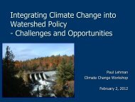 Integrating Climate Change into Watershed Policy