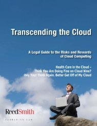 Health Care in the Cloud – Think You Are Doing Fine ... - Reed Smith