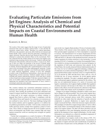 Evaluating Particulate Emissions from Jet Engines ... - AReCO