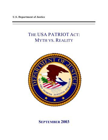 The USA PATRIOT Act: - Bill of Rights Defense Committee
