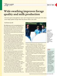 Wide swathing improves forage quality and milk production