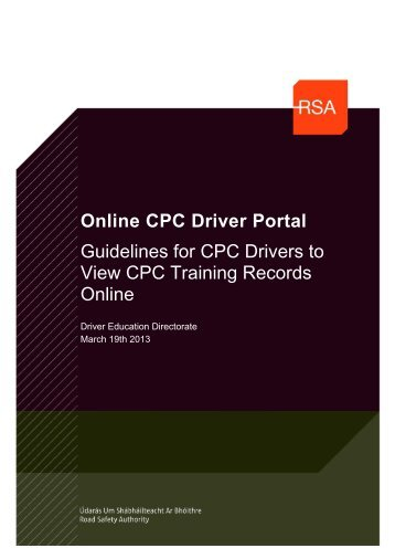 Guidelines for using the My CPC Driver Portal - Road Safety Authority
