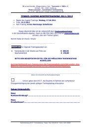 Anmeldeformular für das Wintertraining 2011/12
